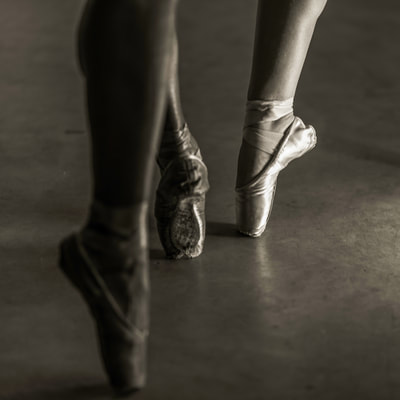 Fine art photographer David Lee Black's black and white pointe shoes, three.
