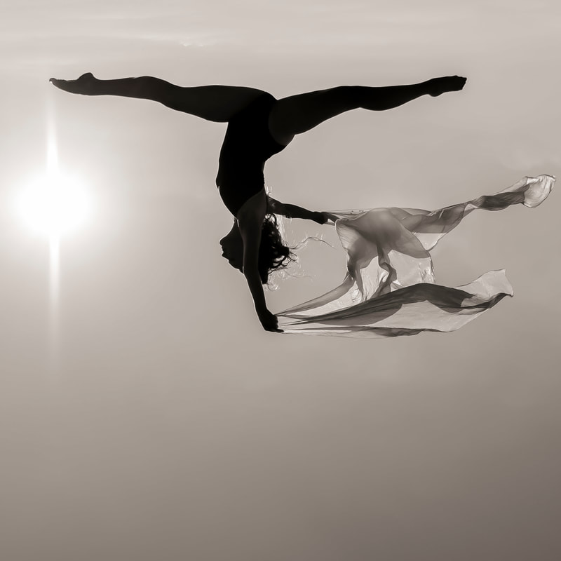 Fine art photographer David Lee Black black and white ballet dancer flying through the sun.
