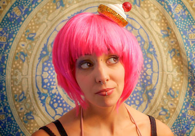 Fine Art photographer David Lee Black portrait of Lola Sugarbottom, cup cake girl, pink hair, nose ring.