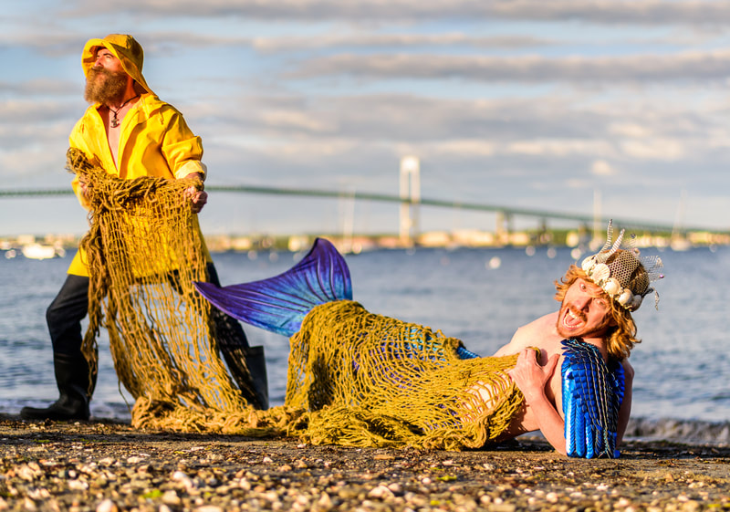 Noted RI fine art photographer David Lee Black captures Mermen and fisherman in Jamestown, RI as part of the Mermaids and Mermen of RI Project.