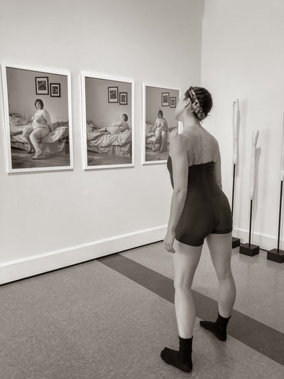 Fine art photographer David Lee Black photographs exhibition at Attleboro Art Museum with ballet dancer Emily Baker with body image theme.